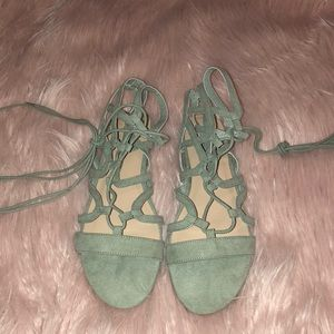 Sage Green Lace Up Sandals